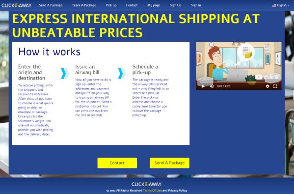 עמוד הבית של Click N Away שילוח בין לאומי במחירים זולים