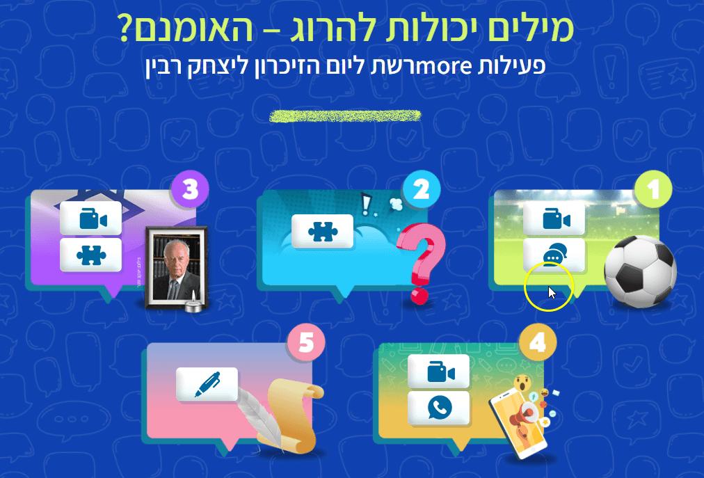 עמוד הפעילות לזכר יצחק רבין