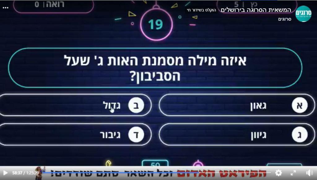 צילום מסך מעמוד הפייסבוק של סרוגים צילום מסך של משחק הטריוויה לקבוצות חברת CloseApp חידון באולפן